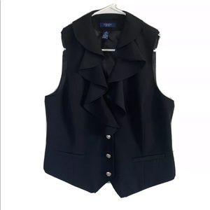 Chaps Vest Medium Black Falbala Collar NWOT